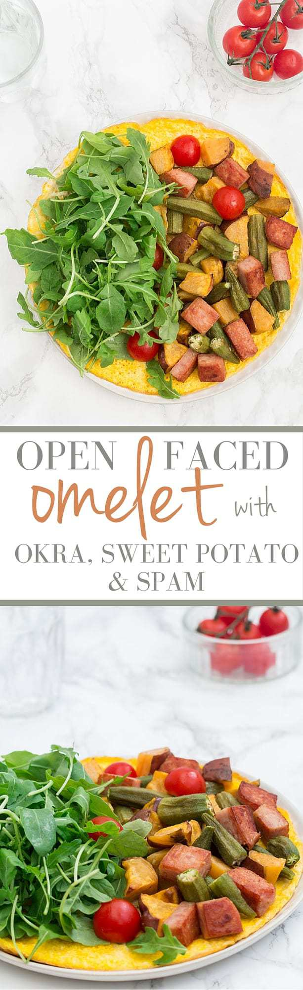 open-faced omelet with okra and sweet potato and spam | Recipes From A Pantry