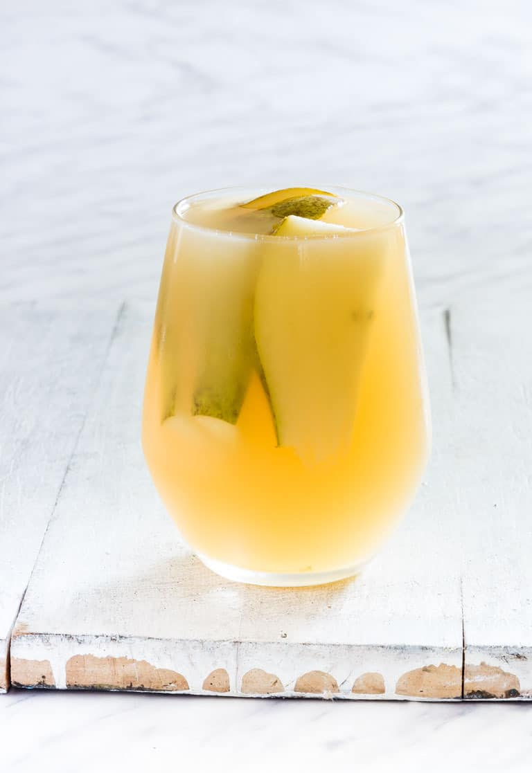 a glass of slow cooker pear juice