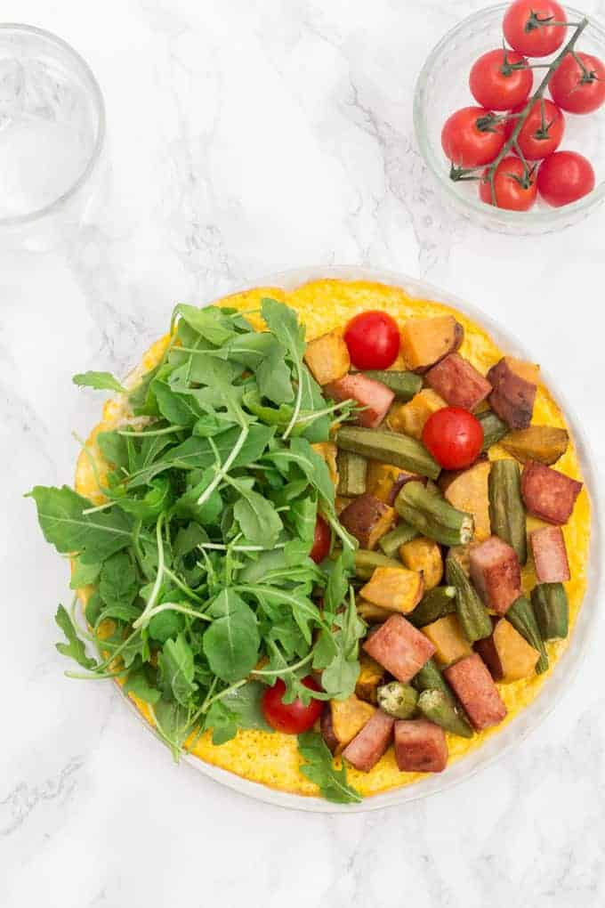 Open- Faced Omelette with Sweet Potato, Okra and Spam | Recipes From A Pantry