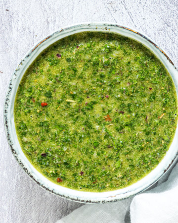 close up of homemade chimichurri sauce