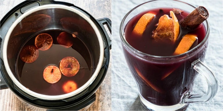 image collage showing the steps for making instant pot mulled wine