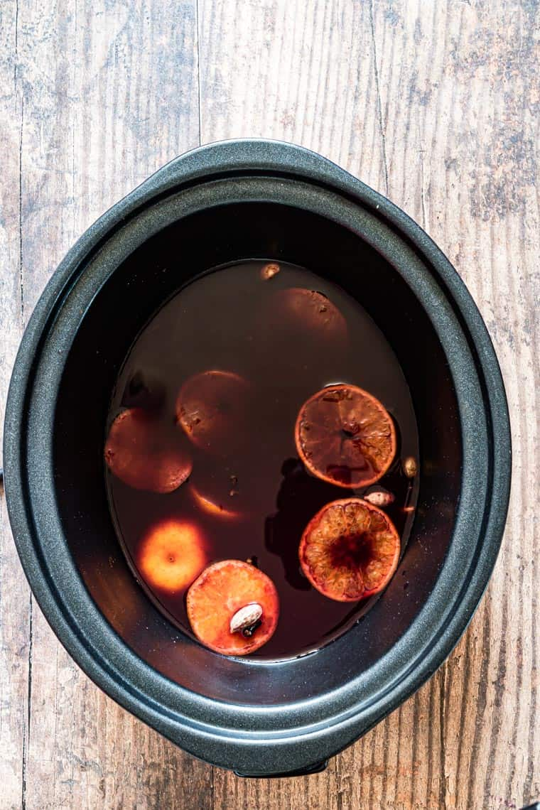 top down view of slow cooker mulled wine