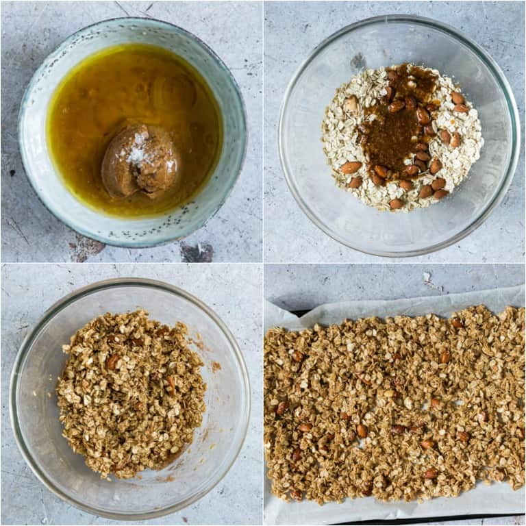 image collage showing the steps for making almond butter granola