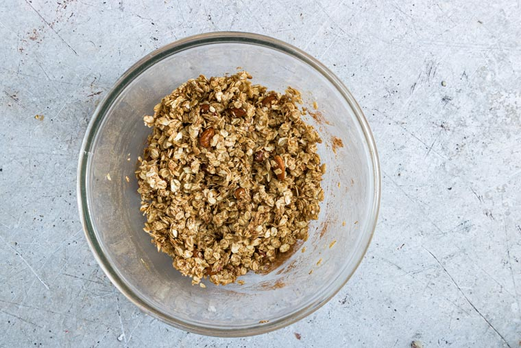 almond butter granola mix in a bowl for baking