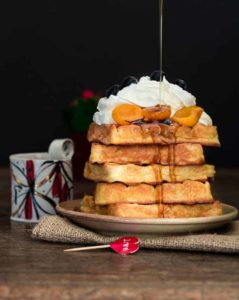 Almond-waffles-with-Maple-roasted-apricots | Recipes-from-a-Pantry