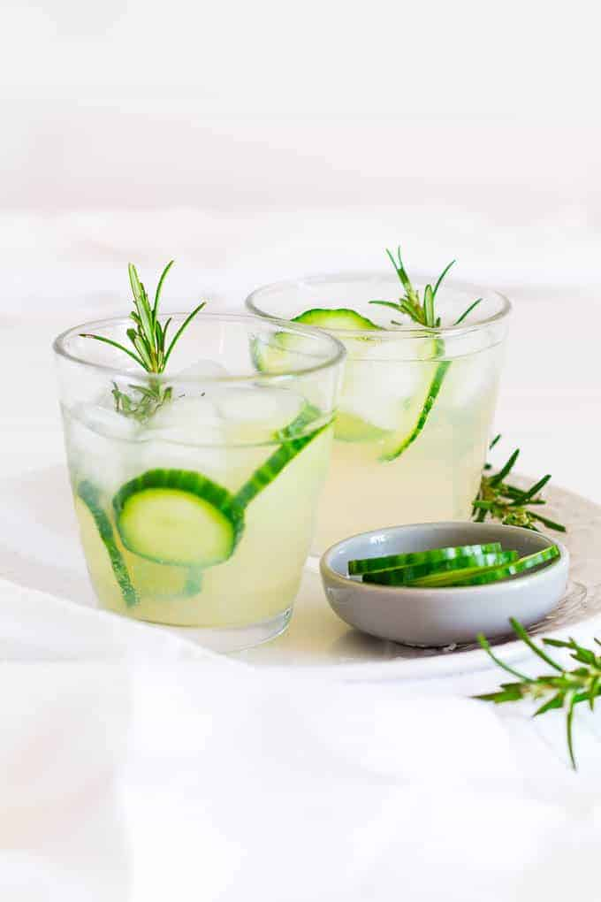 This rosemary and cucumber infused gingerbeer mocktail