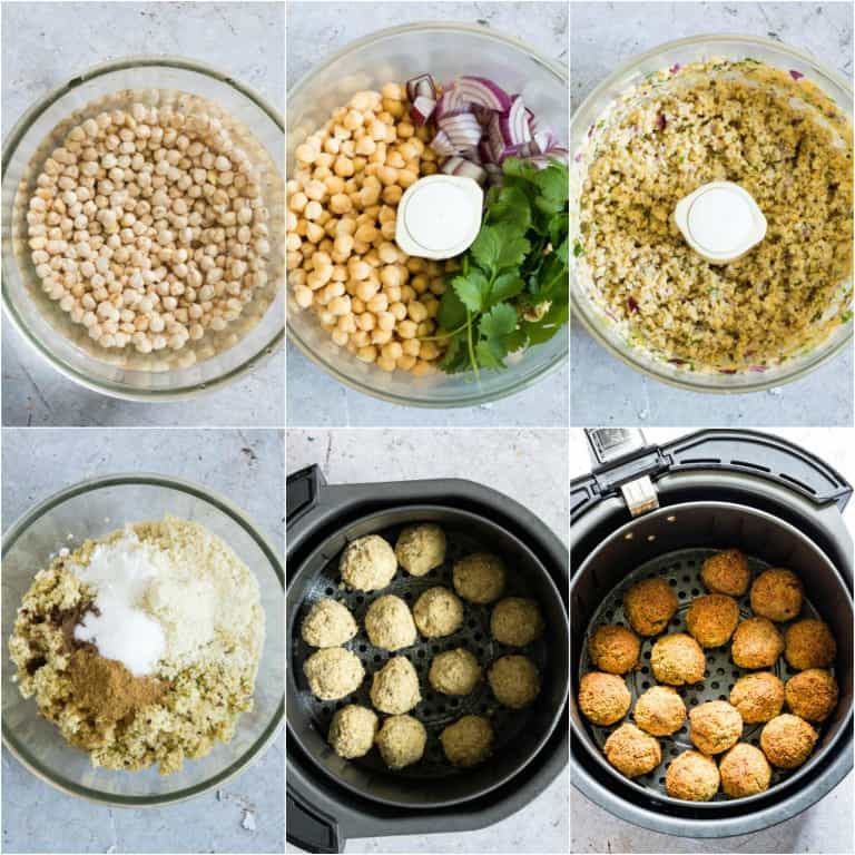 image collage showing the steps for making air fryer falafels