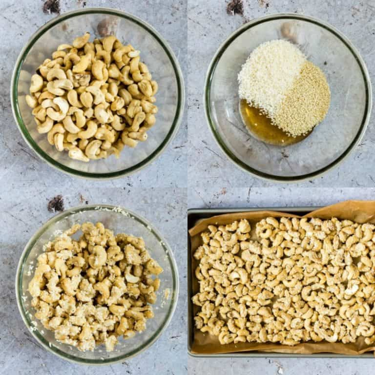 collage of how to make coconut cashews with the ingredients