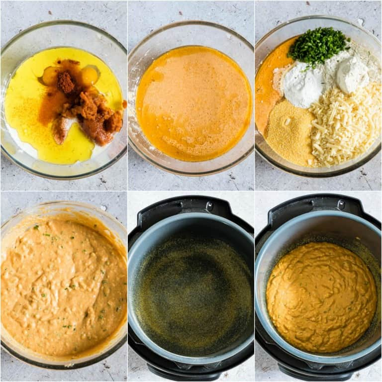 image collage showing the steps for making instant pot cornbread
