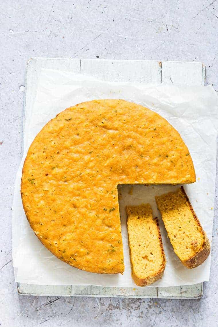close up of sliced instant pot corn bread