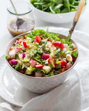 Summer herbed quinoa salad in a bowl