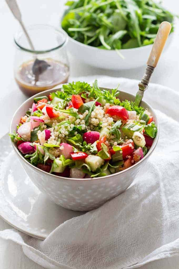 Summer herbed quinoa salad in a bowl