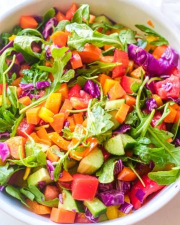 a bowl of rainbow veggie salad