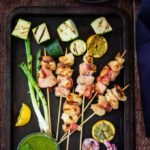 Bacon and Chicken Skewers With Basil Chimichurri {Video} {GF}