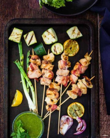 Bacon and Chicken Skewers With Basil Chimichurri   Recipes From A Pantry