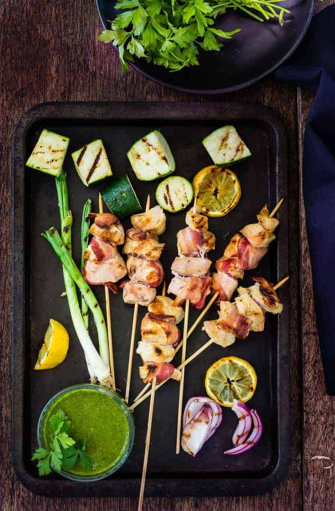 Bacon and Chicken Skewers With Basil Chimichurri | Recipes From A Pantry