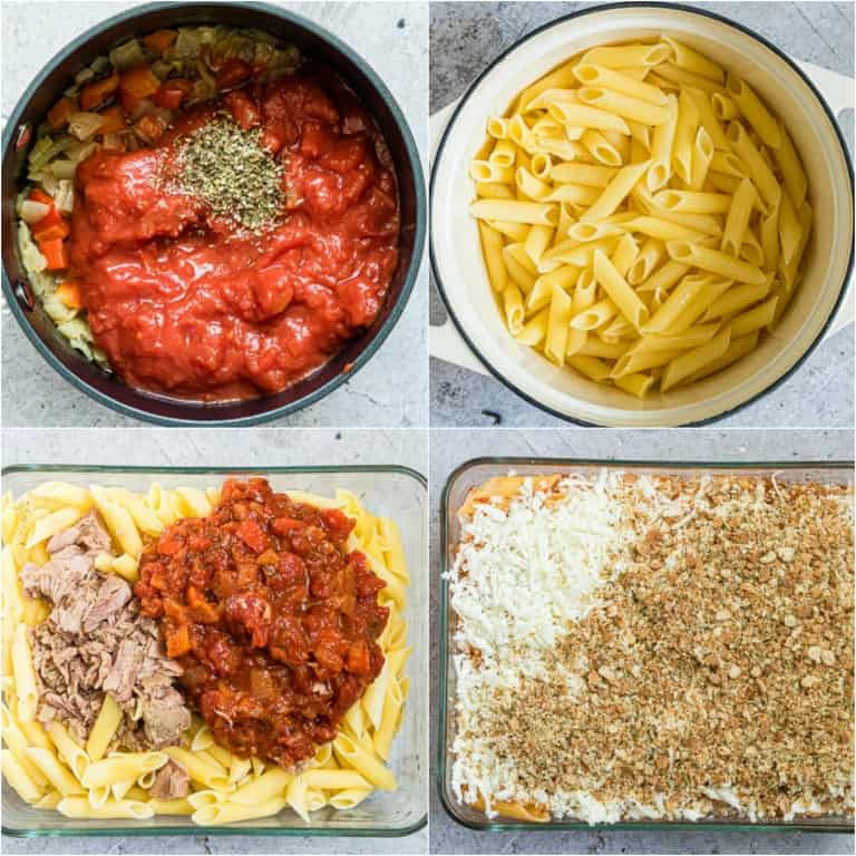 image collage showing the steps for making cheesy tuna casserole