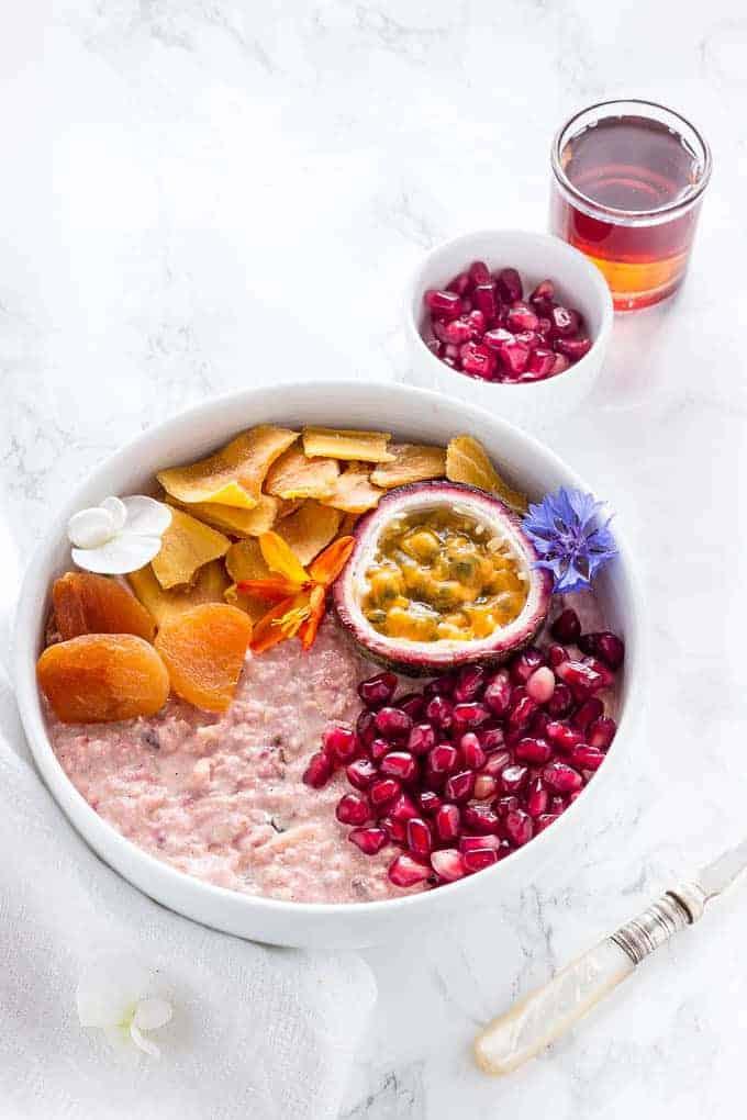 Tropical Bircher Muesli Bowl With Passionfruit And Mango {Vegan}