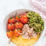 Salmon Polenta Bowls With Roasted Tomatoes and Pesto {GF}