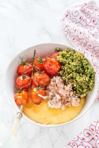 Salmon Polenta Bowls With Roasted Tomatoes and Pesto {GF}