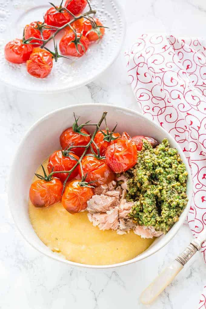 salmon-polenta-bowls-with-roasted-tomatoes-and-pesto-8 | Recipes From A Pantry