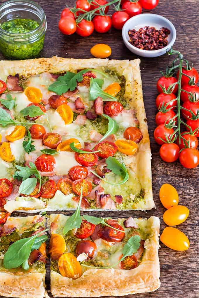 quick bacon tomato and pesto tart -15 | Recipes From A Pantry