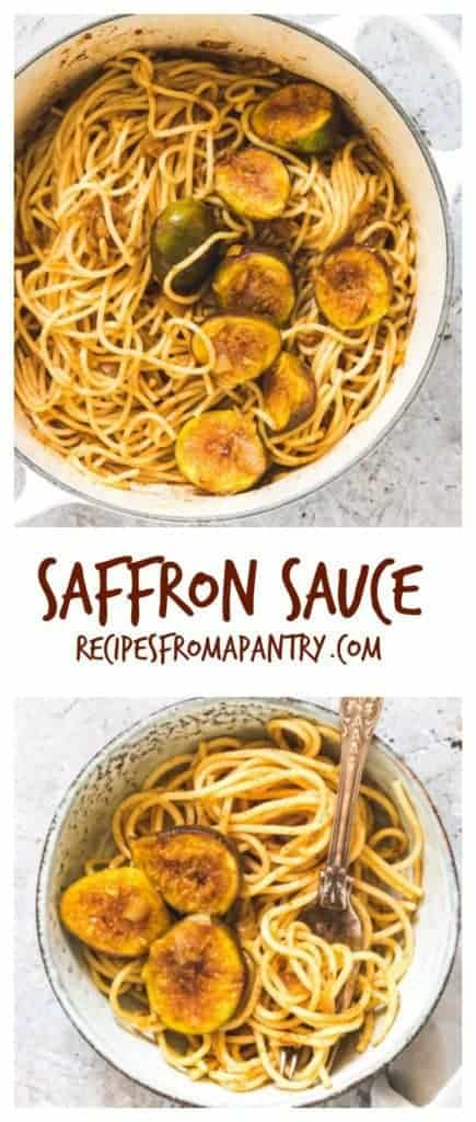 Whip up this easy saffron sauce pasta with figs in less than 15 min. #saffronsauce #creamysaffronsauce #saffronsaucepasta #butterpastasauce