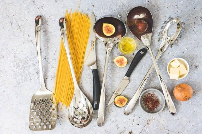 Robert Welch Signature Knives and utensils image with figs, pasta, saffron, butter