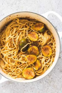 A pot of easy saffron sauce pasta with figs