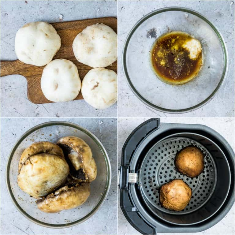 image collage showing the steps for making air fryer mushroom steaks