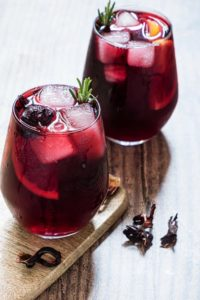 two glasses of hibiscus moscow mule