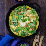 Pear and Apple Frittata with Walnuts, Goats cheese and Honey