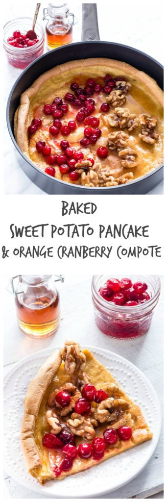 Baked Sweet Potato Pancake With An Orange Cranberry Compote | Recipes From A Pantry