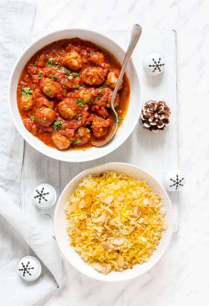 Harrisa Meatballs, Saffron Rice and Harissa Butter Corn | Recipes From A Pantry