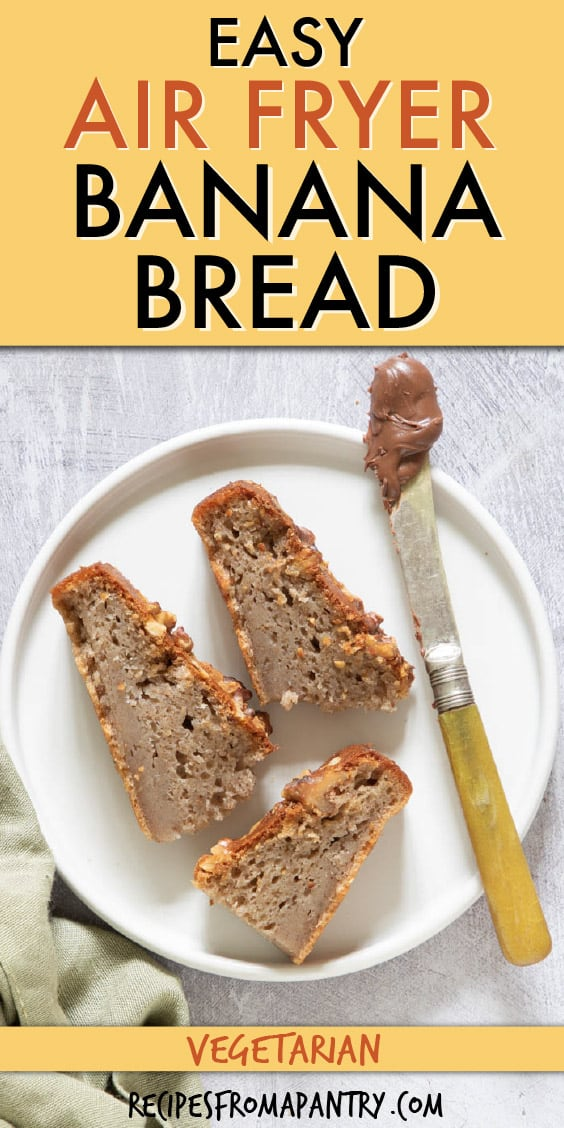 three slices of banana bread on a round plate. A butter knife with nutella sits next to them.