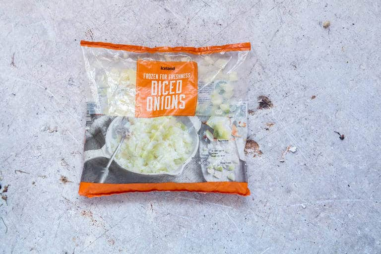 iceland foods diced onion as part of sweet potato carrot soup