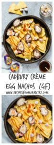 Cadbury crème egg nachos collage image