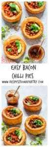 20 minutes bacon chilli pies made with FIVE ingredients in less than 20 mins. Bacon, salsa, beans, yorkshire puddings and spring onions. | recipesfromapantry.com