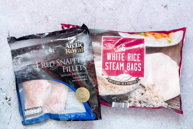 iceland foods red snapper fillets and white rice steam bags