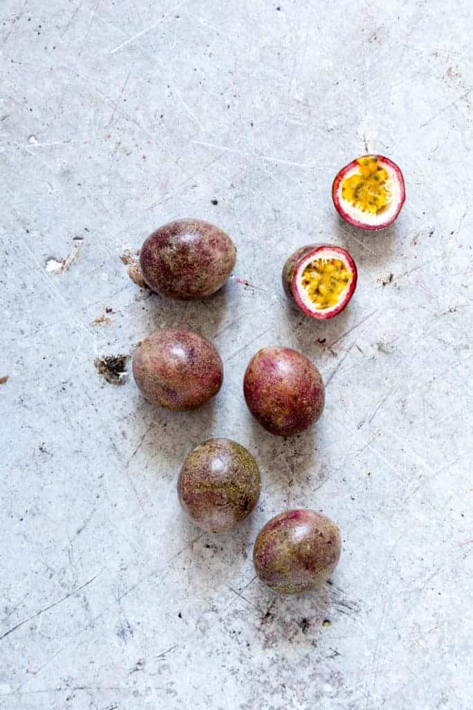 Passionfruit on a table.