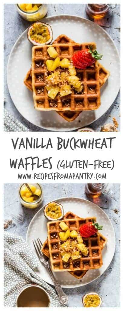Easy vanilla buckwheat gluten free waffles - made with just 6 ingredients. Plus the maple pineapple topping is really good - recipesfromapantry. #glutenfreewaffles #easyglutenfreewaffles #buckwheatflourwaffles #glutenfreewafflesrecipe #fluffyglutenfreewaffles
