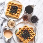 Orange And Thyme Waffles With Blueberry Compote