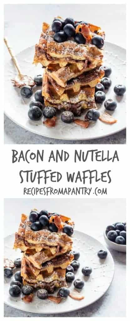 These crispy bacon and Nutella stuffed waffles make an amazing breakfast or brunch recipe. Add blueberries and maple syrup for an extra treat. | recipesfromapantry.com