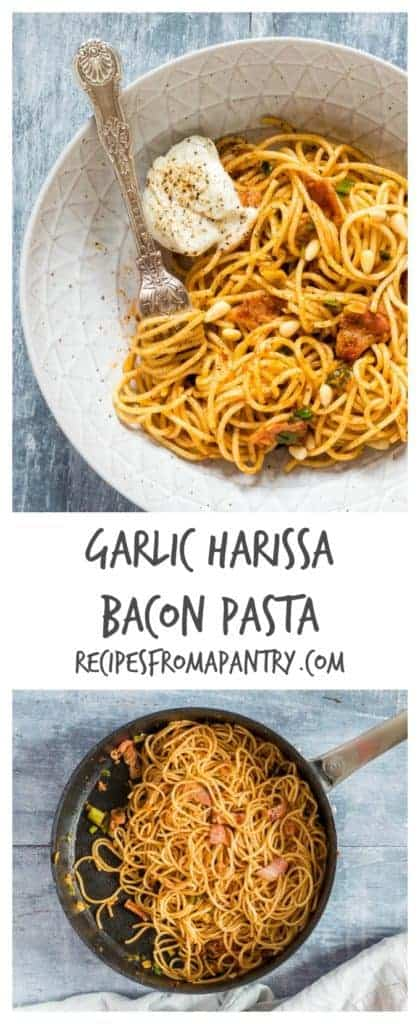 This garlic harissa bacon pasta recipe is incredible simple. Made from 5 ingredients aka garlic, pasta, spring onions, harissa and bacon. | recipesfromapantry.com