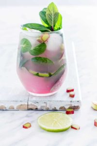 A glass of Rhubarb Mojito