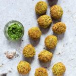 Easy Falafel Recipe - falafels on a table with a dip