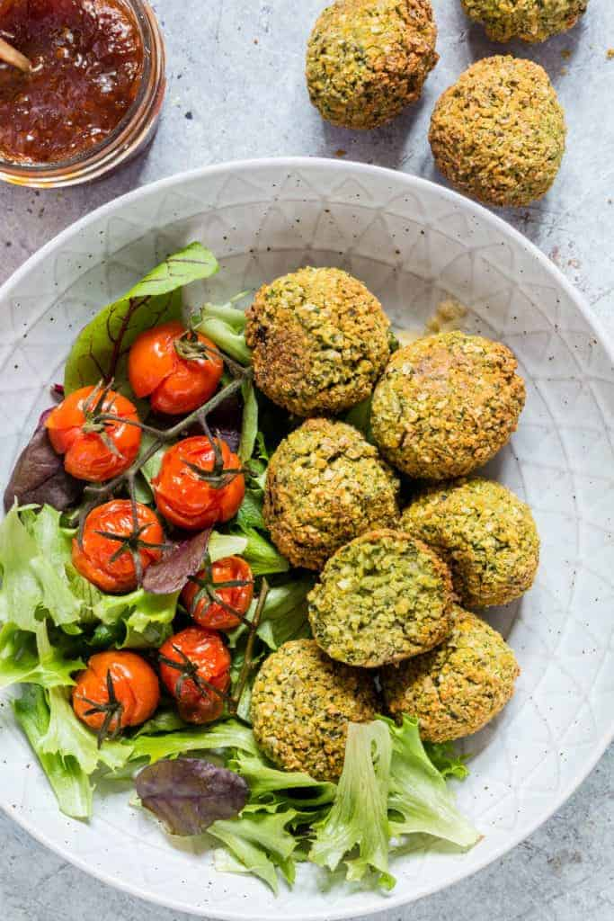 Easy falafel recipe - falafels in a bowl with some salad