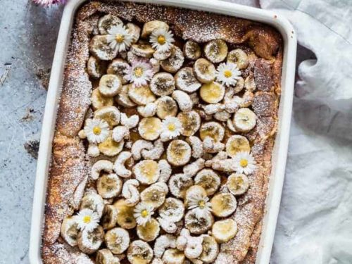 Baked Brioche French Toast With Caramelized Banana And Cashews
