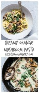 This creamy orange mushroom pasta is completed with rocket, parmesan and fresh orange juice. So simple and oh so good. Recipesfromapantry.com