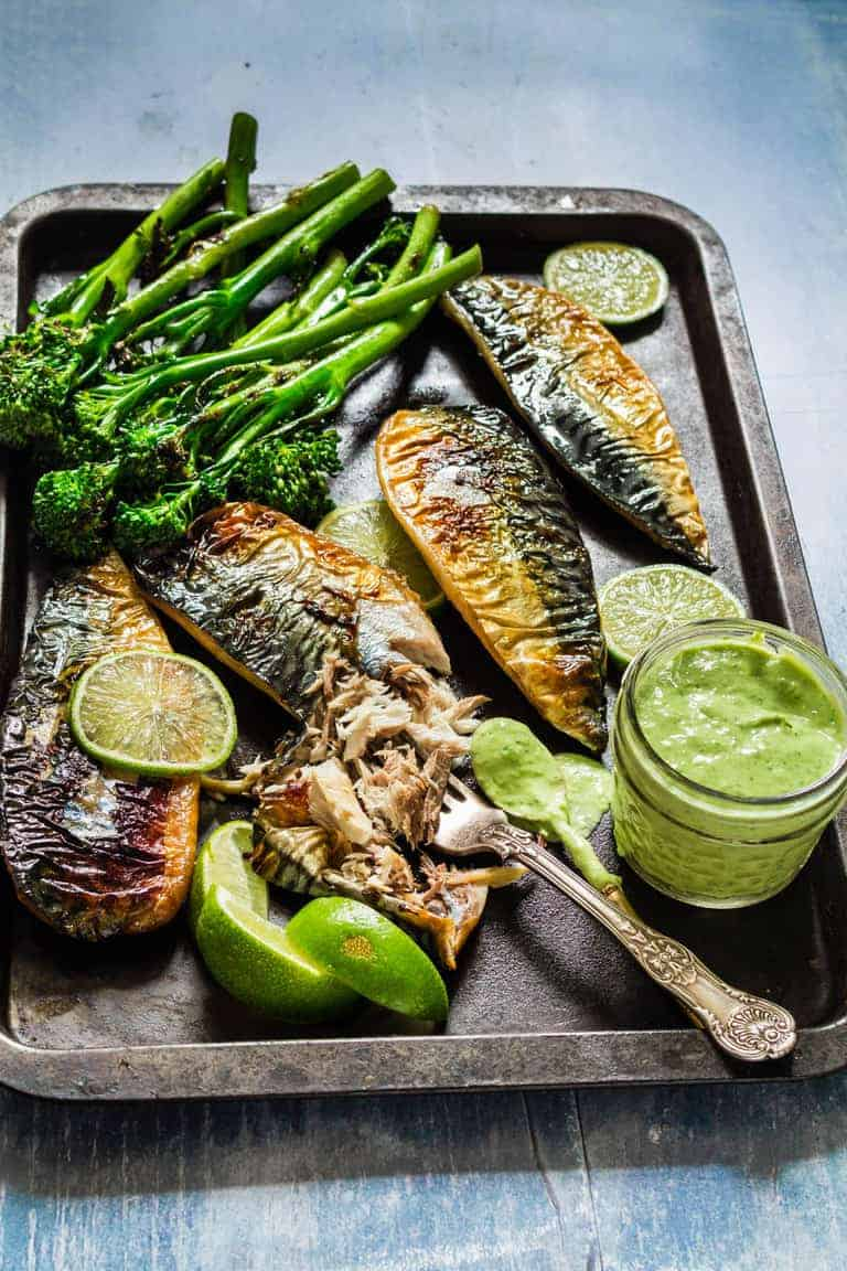 grilled mackerel fillets with grilled broccolini and a jar of green goddess dressing